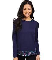 NYDJ Petite - Petite Mixed Media Crew Neck Sweater