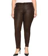 NYDJ Plus Size - Plus Size Alina Legging Jeans in Faux Leather Coating in Mahogany Brown Leather Coating