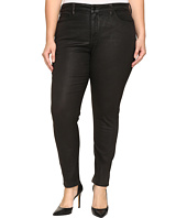NYDJ Plus Size - Plus Size Alina Legging Jeans in Faux Leather Coating in Black Grey Leather Coating
