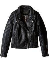 Blank NYC Kids - Vegan Leather Moto Jacket in Black Cat (Big Kids)