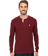 U.S. POLO ASSN. - Long Sleeve Slim Fit Fleck Thermal Henley Pullover