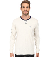 U.S. POLO ASSN. - Long Sleeve V-Inset Crew Neck Knit Shirt