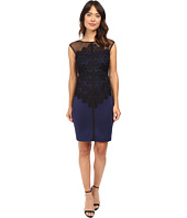 Sangria - Cap Sleeve Lace and Scuba Sheath