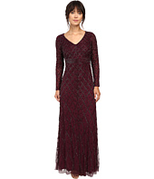 Adrianna Papell - Long Sleeve V-Neck Beaded Gown