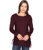 Brigitte Bailey - Garnet Pullover w/ Mixed Cable & Lace