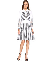 Zac Posen - Long Sleeve Stripe Cotton Organdy Dress