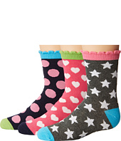 Jefferies Socks - Dots/Hearts/Stars Crew Socks 3-Pair Pack (Toddler/Little Kid/Big Kid)