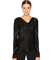 Prabal Gurung - Long Sleeve Cowl Neck Blouse w/ Pearls