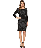 Laundry by Shelli Segal - 3/4 Sleeve Jacquard Sweater Dress with Embellishment