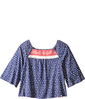 Lucky Brand Kids - 3/4 Sleeve Flowy Printed Top w/ Contrast Colored Yoke (Big Kids)