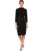 Adrianna Papell - Mock Neck Jersey Bodice with Fully Beaded Skirt