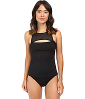LAUREN Ralph Lauren - Mesh Blocked Solids Hi-Neck Cutout Tankini