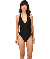 LAUREN Ralph Lauren - Variegated Ottoman V-Halter One-Piece w/ Removable Cup & Logo Clasp