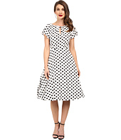 Unique Vintage - Dotted Ruffle Sleeve Swing Dress