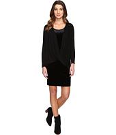 Mod-o-doc - Stretch Velvet Double Layer Twist Front Dress