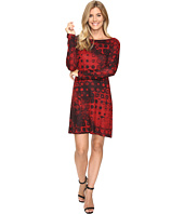 Nally & Millie - Red Geo Print Long Sleeve Dress