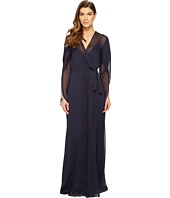 Halston Heritage - Long Sleeve Deep V-Neck Flowy Gown w/ Sash