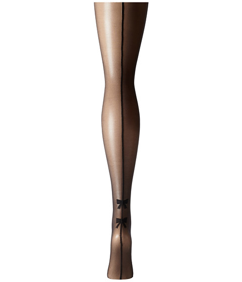 Seamed Stockings, Nylons, Tights Pretty Polly - Plus Size Curves Bow Backseam Tights Black Hose $19.99 AT vintagedancer.com