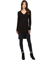 HEATHER - Long Sleeve V-Neck High-Low Tunic