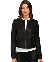 Via Spiga - Collarless Center Zip Leather Jacket