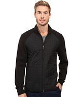 Perry Ellis - Quilted Mix Media Knit Jacket