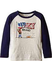 Lucky Brand Kids - Long Sleeve Raglan Tee with Lucky Bear and Flag Screen Print (Toddler)