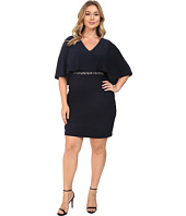 Adrianna Papell - Plus Size Wide Band Matte Jersey Capelet Sheath Dress