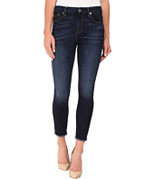 7 For All Mankind - The High Waist Ankle Skinny w/ Raw Hem in Dark Canterbury