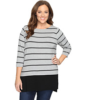 Vince Camuto Specialty Size - Plus Size Long Sleeve Chiffon Hem Stripe Duet Top