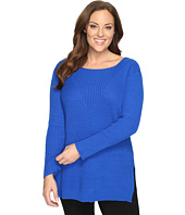 Vince Camuto Specialty Size - Plus Size Long Sleeve Ribbed V Textured Sweater