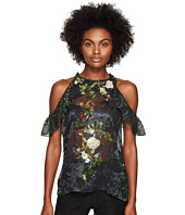 Preen by Thornton Bregazzi - Harrison Printed Silk Georgette Cold Shoulder Top