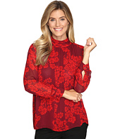 Vince Camuto - Long Sleeve Petal Cascade Ruched Neck Blouse