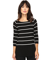 Vince Camuto - Long Sleeve Chiffon Hem Stripe Duet Top