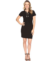 Vince Camuto - Short Sleeve Dress with Front Grommet Lace-Up