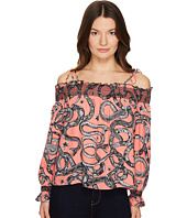 Just Cavalli - Off the Shoulder Printed Long Sleeve Top