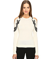 YIGAL AZROUËL - Cold Shoulder Lace Applique Sweater