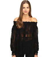 YIGAL AZROUËL - Open Shoulder Smocked Fille Coupe Top