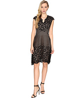 Maggy London - Grid Flower Border Lace Fit and Flare Dress