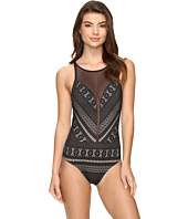 Bleu Rod Beattie - Sneak Peek High Neck Mesh Plunge One-Piece