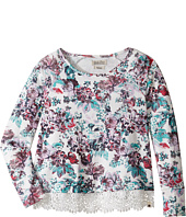 Lucky Brand Kids - Floral Long Sleve Terry Shirt with Lace Trim (Big Kids)
