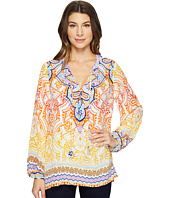 Hale Bob - Pop Artist Washed Silk Crepe De Chine Long Sleeve Top
