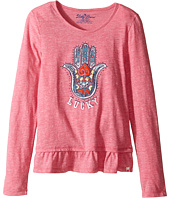 Lucky Brand Kids - Long Sleeve Tee w/ Ruffle and Hamsa Screen Print (Little Kids)