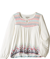 Lucky Brand Kids - Long Sleeve Peasant Top w/ Embroidery and Printed Bottom (Little Kids)