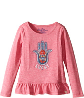 Lucky Brand Kids - Long Sleeve Tee w/ Ruffle and Hamsa Screen Print (Toddler)