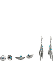 Steve Madden - Turquoise Wing Flower Post and French Wire Leaf Earrings Set