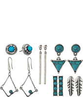 Steve Madden - Turquoise Halo Bar Dangling Triangle Feather Chain Tassel and Diamond Shaped Post Earrings Set