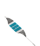 Steve Madden - Multi-Row Round Turquoise Stone Beads Open Cuff Bangle Bracelet