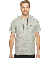 adidas - Essentials Heathered Piqué Short Sleeve Hoodie