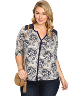 Lucky Brand - Plus Size Printed Woven Mix Top
