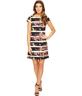 Adrianna Papell - Striped Shift Dress w/ Cap Sleeve